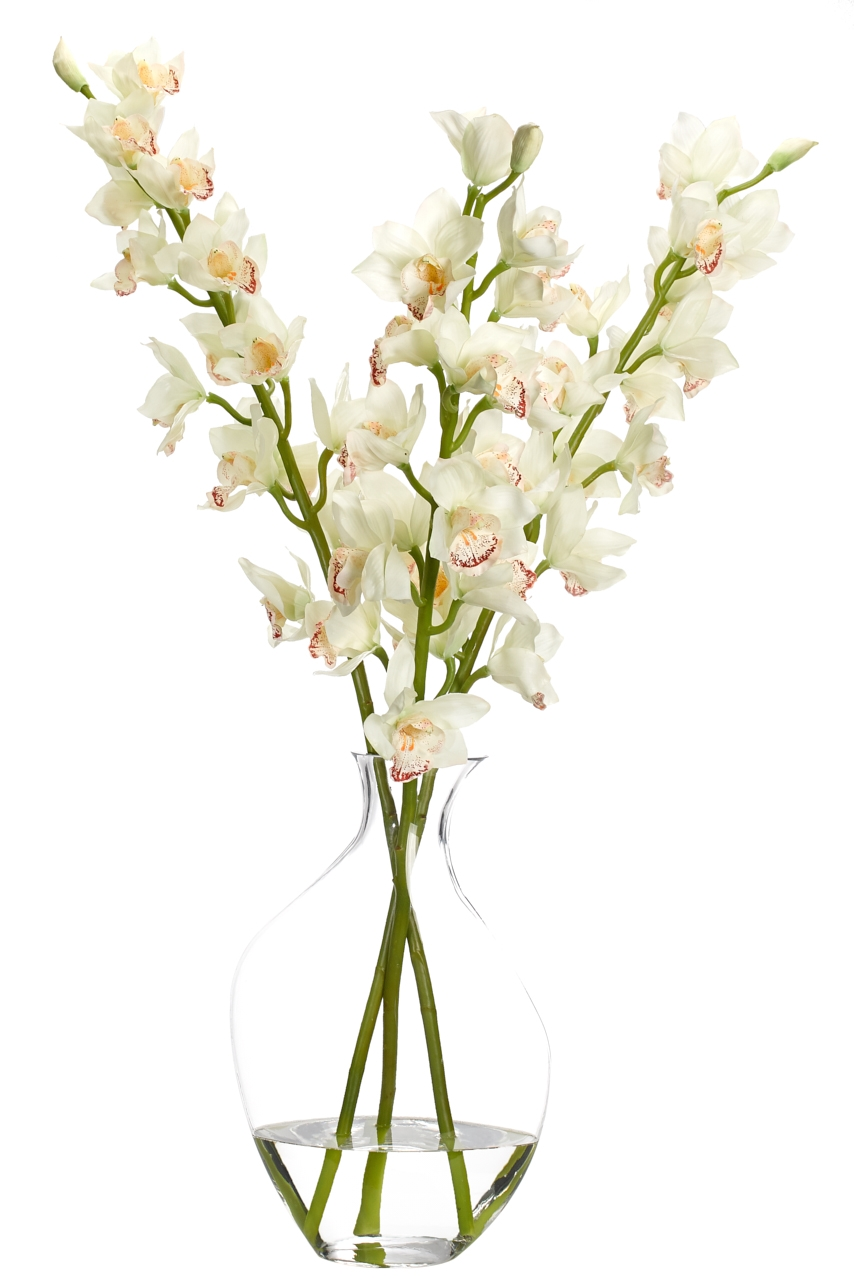 Orchid Cymbidium, Cream, Glass Odd Bubble, 21wx27dx44h