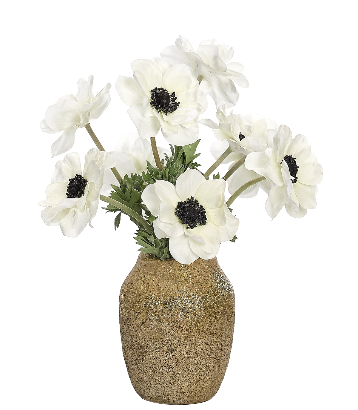 Anemone, White, Textured Ceramic Vase, 12wx12dx15h