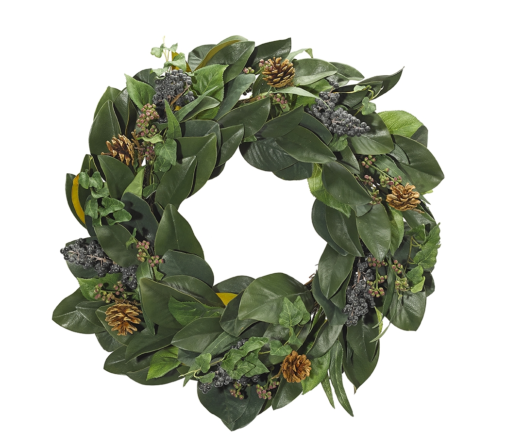 Magnolia Berry Ecualyptus Wreath, 24""
