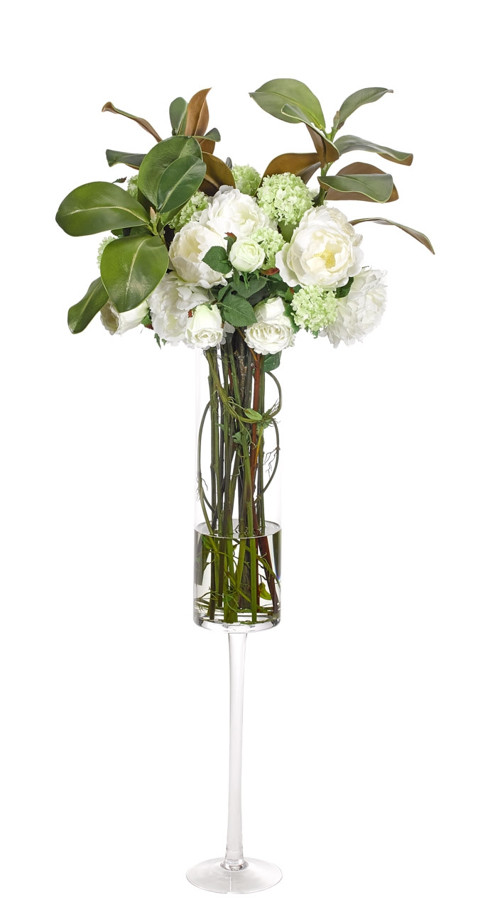 Peony Rose Snowball, White Green, Glass Stem Vs, 21wx21dx51h