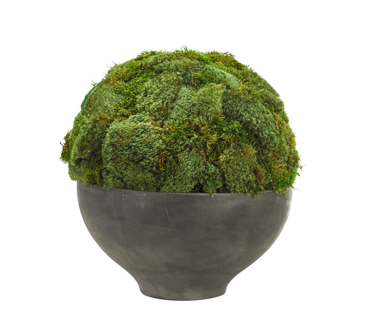 Moss Mound, Bowl Terracotta Grey Finish, 18wx18dx18h