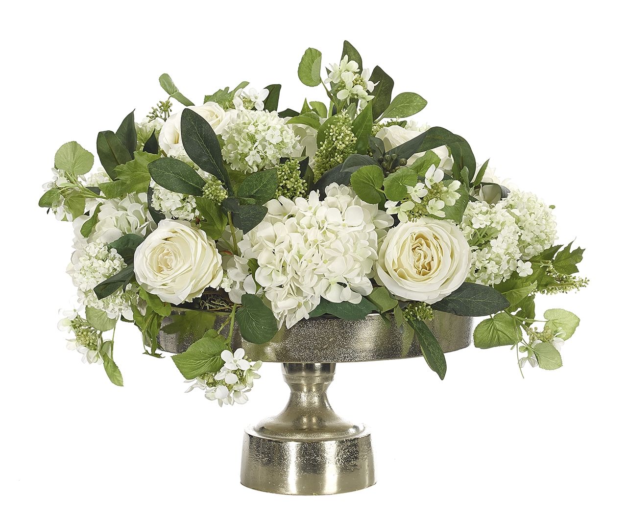 Rose Hydrangea, Cream Green, Silver Tray