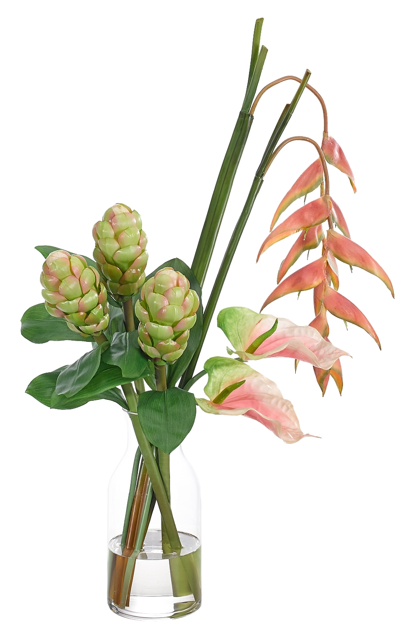 Heliconia Anthurium, Pink Green, Glass Bottle, 24wx18dx35h