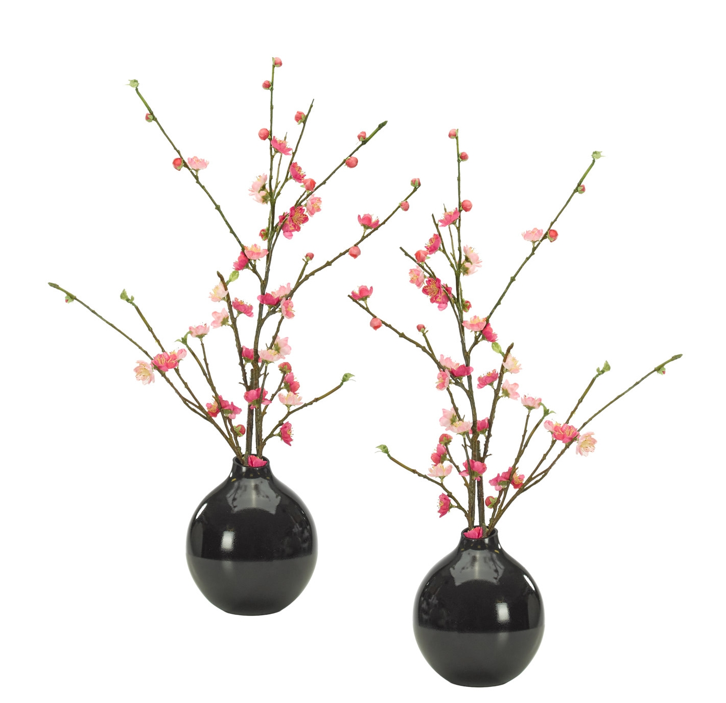Cherry Blossom,Pink,Glass Bubble Black,Set of 2,14wx14dx24h