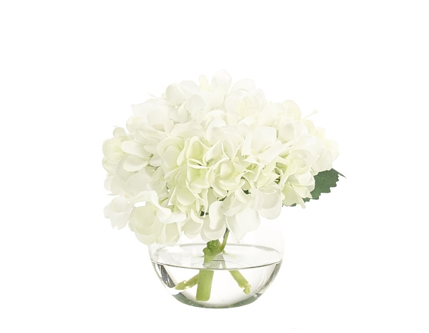 Hydrangea, White, Glass Bubble, 8wx7dx7h