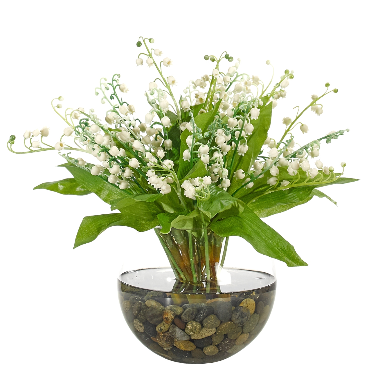 Lily of the valley white glass bubble 13wx13dx12h izmirmasajfo