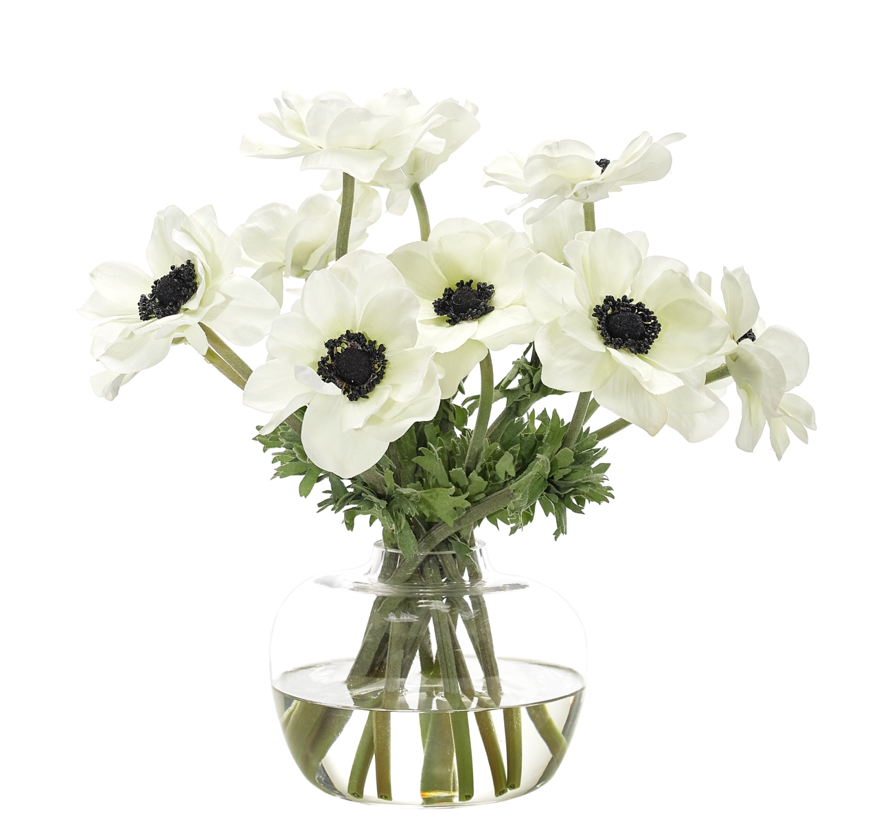 Anemone, White, Glass Ginger Jar, 16wx14dx13h