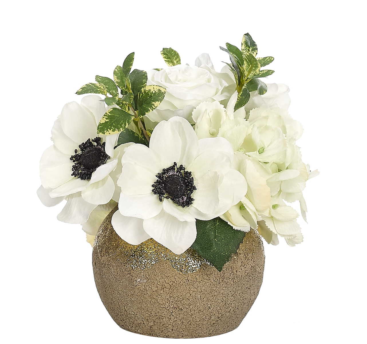 Anemone Rose, White, Textured Ceramic Vase, 9wx9dx8h