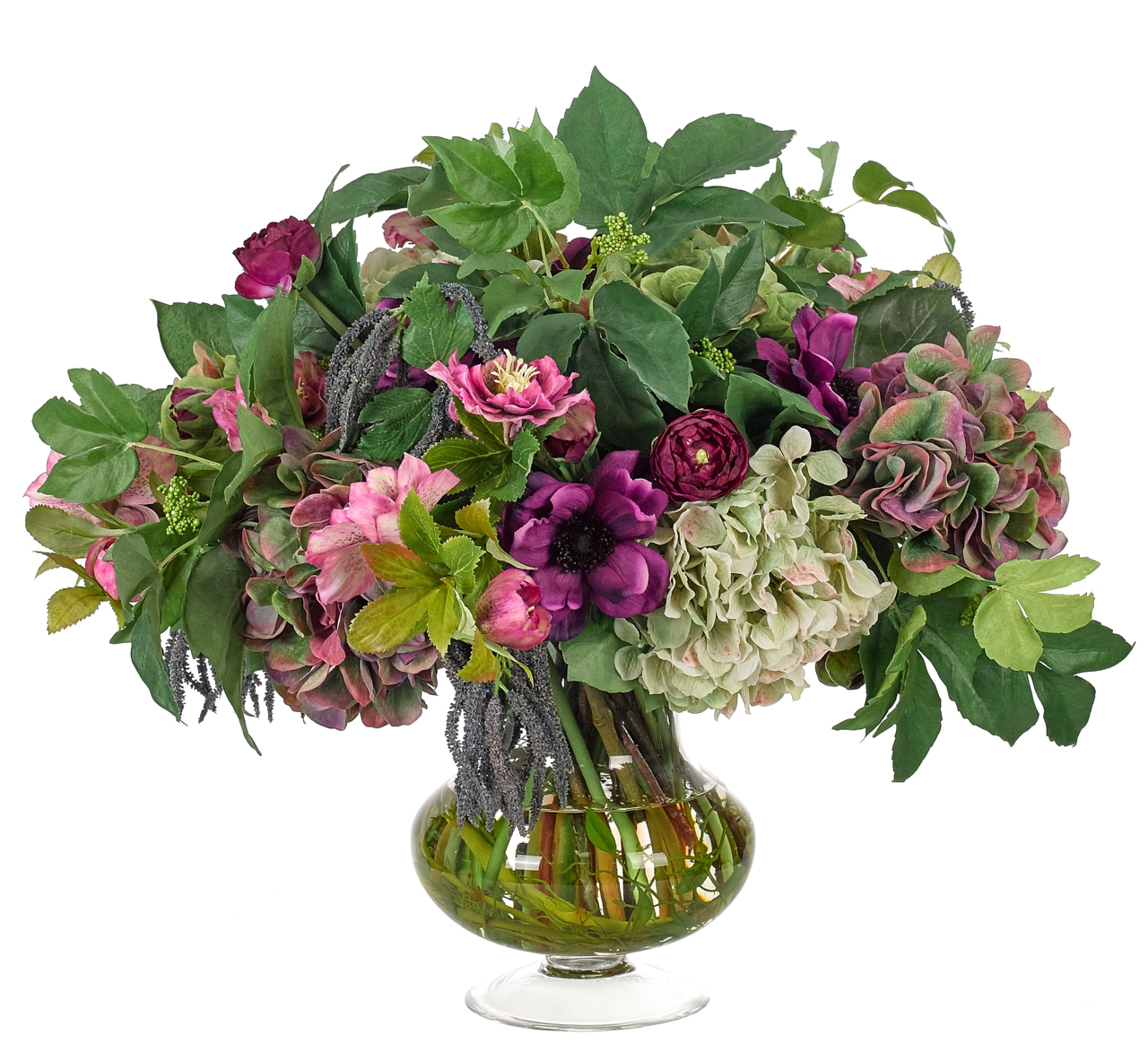 Hydrangea Anemone, Purple Green, Glass Urn, 26wx26dx22h