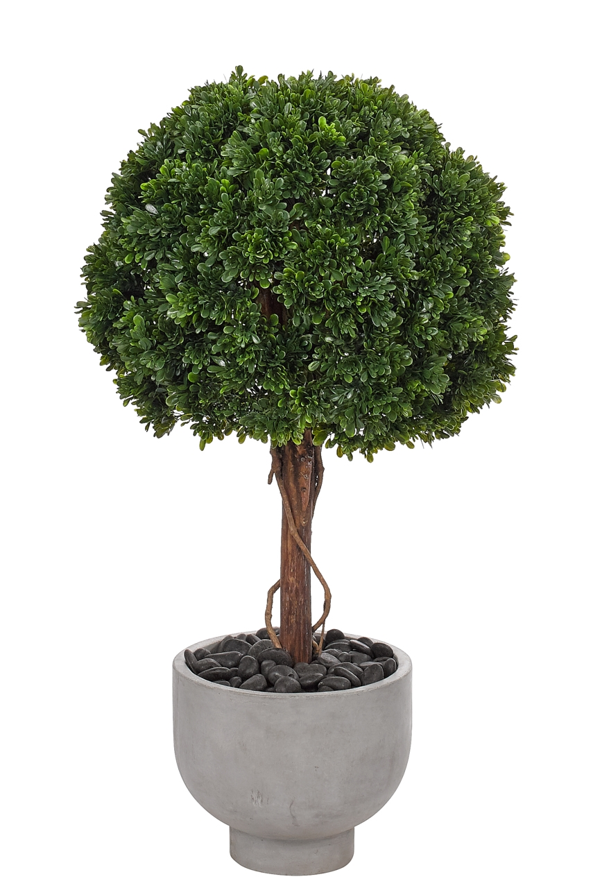 UV Rated and suitable for outdoor use! Boxwood Ball Topiary,Bowl Concrete Fin,22w22d40h