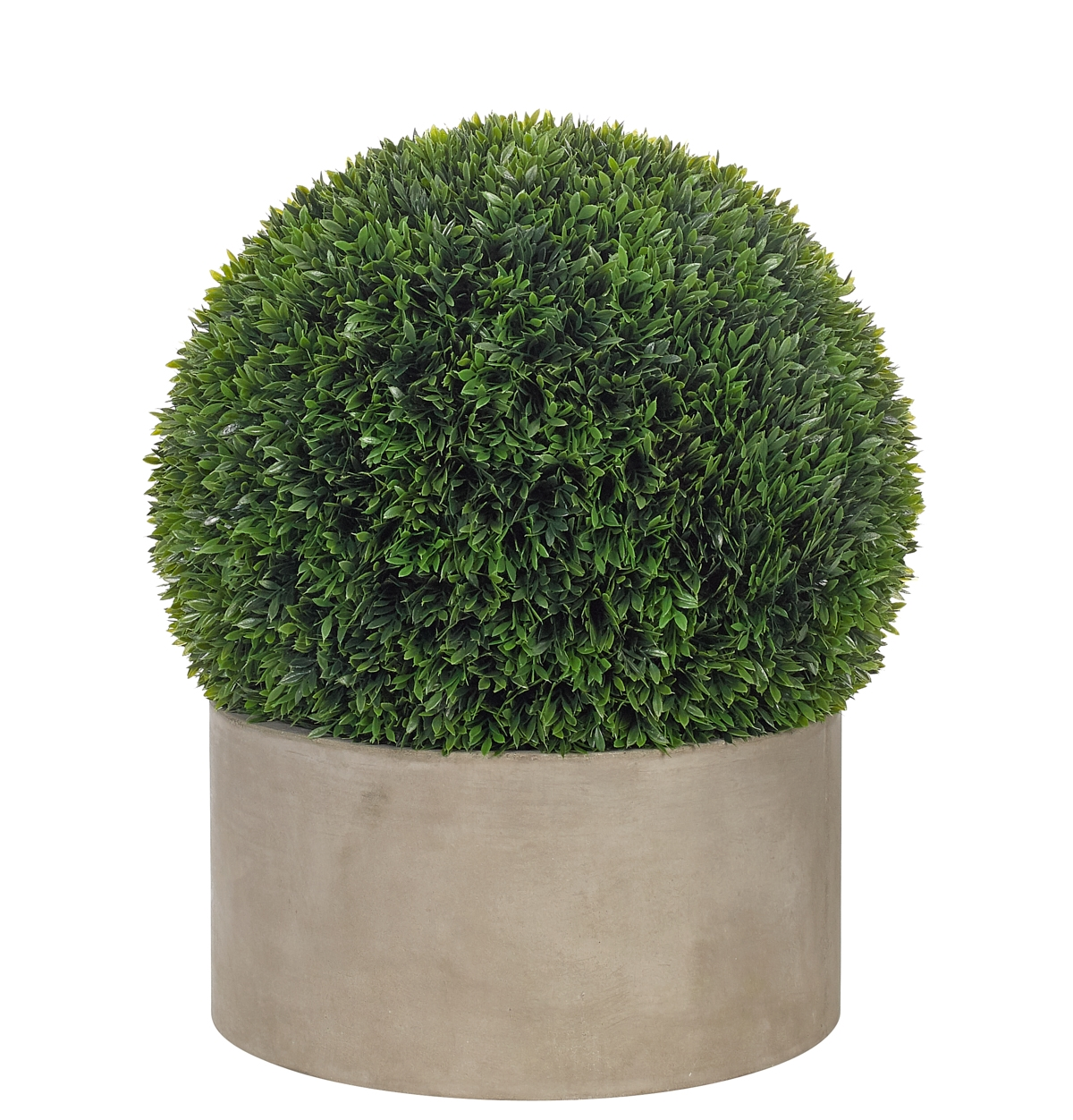 "UV rated and suitable for outdoor use! | Boxwood Ball, Bowl Terracotta Grey Finish, 14wx19.5""h"
