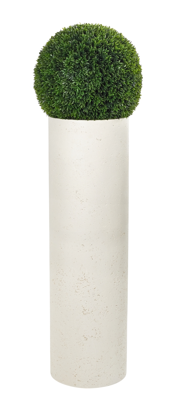 "UV rated and suitable for outdoor use! | Boxwood Ball, Tall Planter Resin, 14wx52.5""h"
